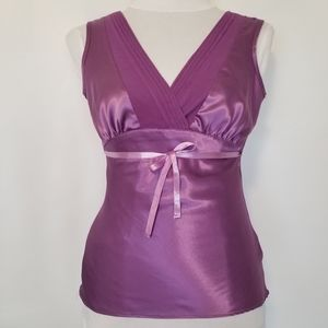 1175 NWOT George Stretch Lilac Satin/Sheer Top XS